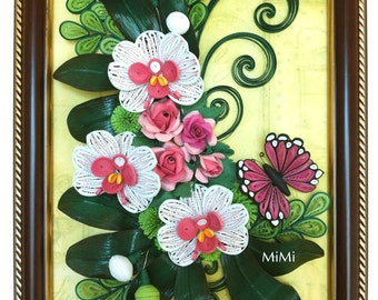 Quilling wall art/Orchid/Roses/Butterfly