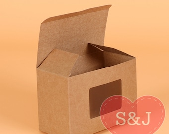50 Kraft 10x7.5x15cm Kraft Brown Rectangular cardboard cupcake/cake box with window party gift container favour boxes