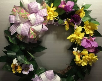 Spring Wreath Lavender and Yellow