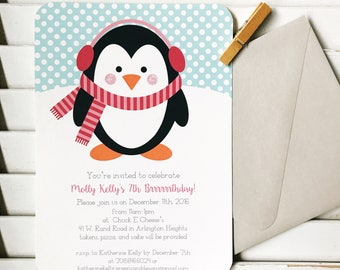 Penguin birthday party, first birthday, winter birthday party, penguin party invitation, baby shower, 1st birthday party, boy baby shower