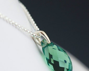 ON SALE Green swarovski crystal necklace on sterling silver chain
