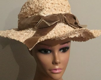 Vintage Hat Plastic Weave Sun Hat Cream with Brown Velvet Ribbon and Bow Trim Union Made USA