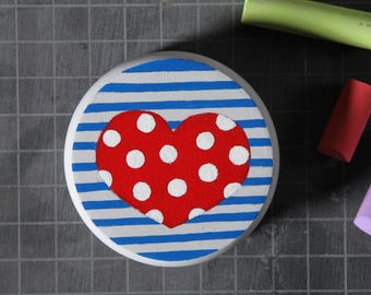 """Yoyo"" sailor heart made of wood, handpainted 5.5 cm"