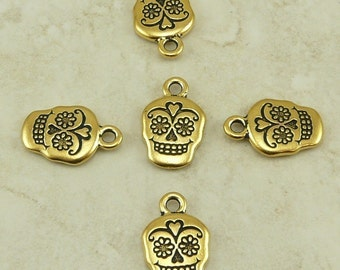 5 TierraCast Sugar Skull Day of the Dead Charms > Halloween Gothic - 22kt gold plated Lead Free Pewter - I ship Internationally 2320