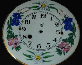 Large Vintage Antique Porcelain Enamel clock Watch Dial Steampunk Face Parts Mixed Media Assemblage