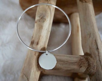 Bangle Bracelet in 925 Silver with Medal