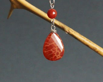 Carnelian Necklace Gemstone Pendant Necklace Carnelian Drop Necklace Stone Necklace Carnelian Jewelry Crystal Healing Simple Gem Necklace