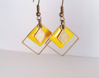 Earrings mustard yellow enameled graphics