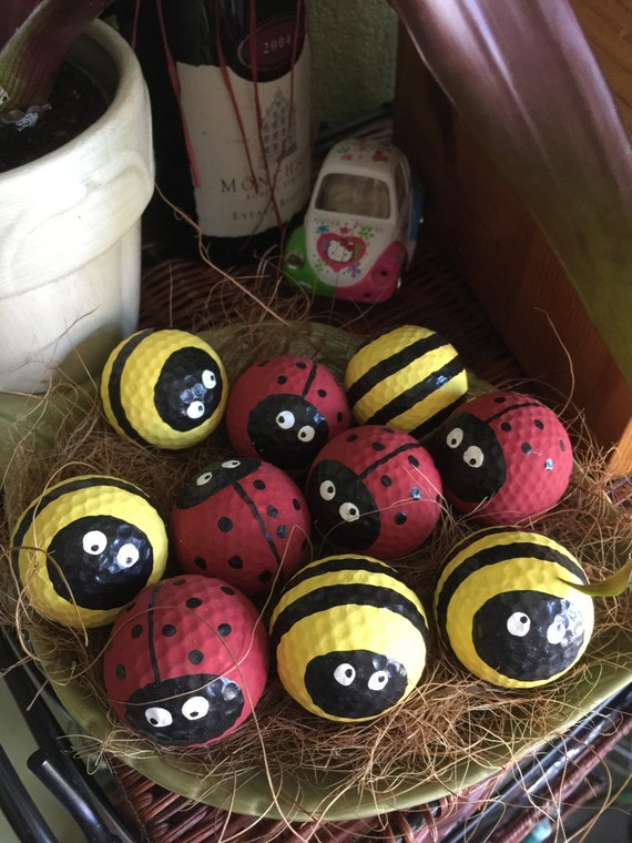 Lady Bugs And Bee Golf Balls