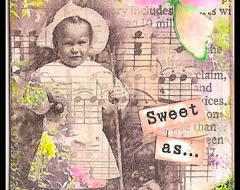 ZNE ATC ACEO -  Sweet As Can Be - Mixed Media Collage Art by ruby