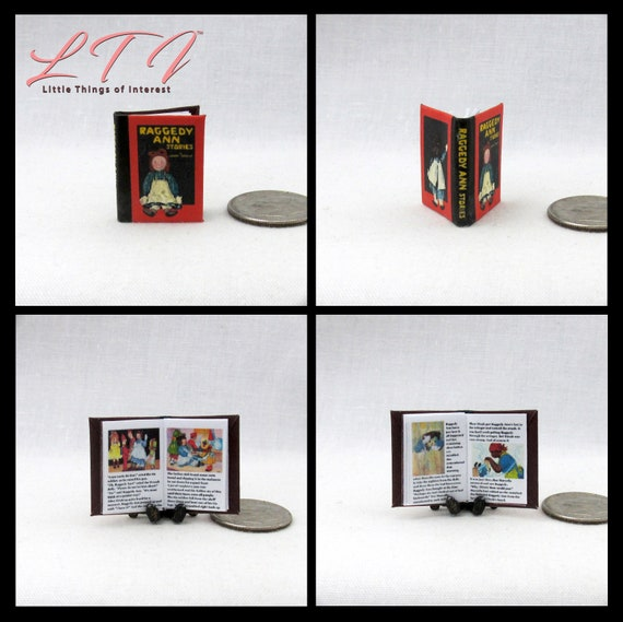 RAGGEDY ANN Stories Miniature Book Dollhouse 1:12 Scale Readable Illustrated Book