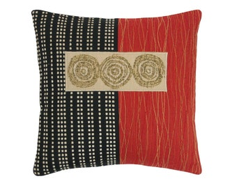 "Red Alchemy ""3 Circles"" Modern Decorative Pillow 12 x 12 inches"