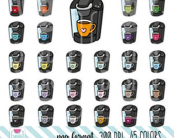 45 Doodle Coffee Maker Clipart. Personal and comercial use.