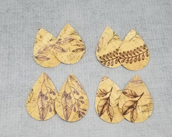 Cork Teardrop Shapes for Earrings, Leaf Print, Natural CORK Teardrops, 4 pairs of Cork Teardrops, Leather Alternative, 8 pieces