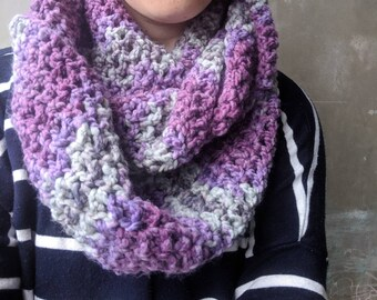 Infinity scarf in purple and grey | adult scarf, women's scarf, infinity scarf, purple cowl, crochet cowl, handmade scarf
