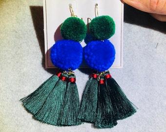 Green and Blue Tassels Earrings