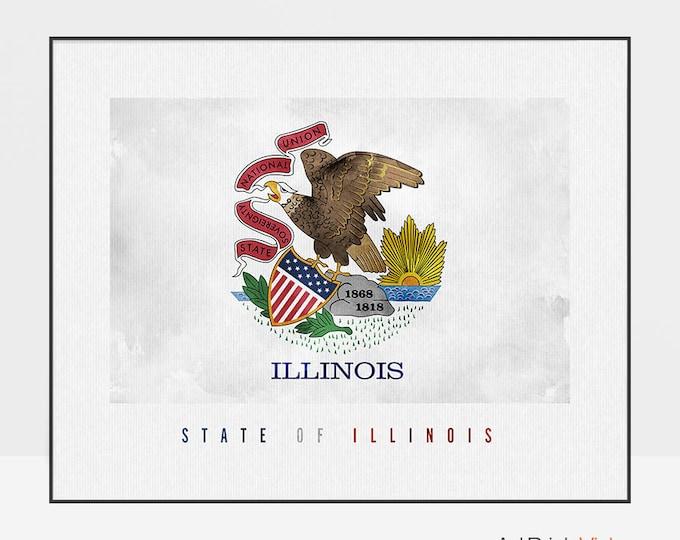 Illinois state flag print, Office decor, Illinois Wall art, flag painting poster, United States flag, travel, home decor, ArtPrintsVicky