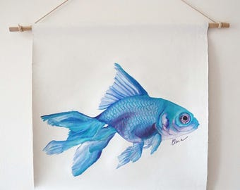 Original oil painting Blue Gold fish isolated illustration hanging wall deco