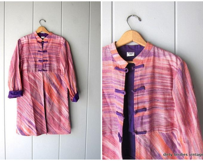 Cotton Kimono Jacket Oversized Handwoven Long Coat Pink Purple Ethnic Jacket Colorful Light Spring Modern Jacket Womens Small - Large