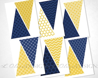 Navy and Yellow Pennant Banner - DIY Printable - INSTANT DOWNLOAD
