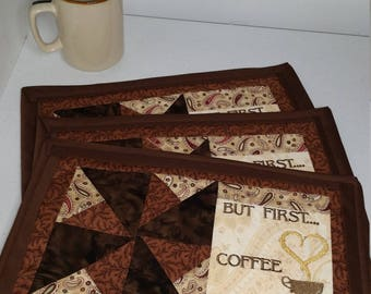 "CimplyQuilts - Mug Rug ""But First...Coffee"""