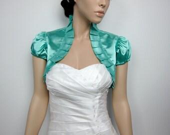 Pale Turquoise short sleeve satin bolero wedding bolero jacket shrug