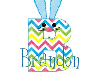 Easter Bunny Initial-Name Blue Digital Download for iron-ons,heat transfers, T-Shirts, Onesies, Bibs, Towels, Aprons, DIY YOU PRINT