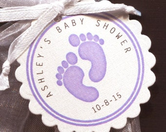 Personalized Baby Girl Baby Shower Favor Tags featuring purple baby feet, set of 50