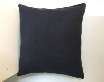 Linen decorative cushion cover, Linen Home Decor, Natural Flax, Linen cushion cover, Linen sofa pillow cover, Black accent pillow