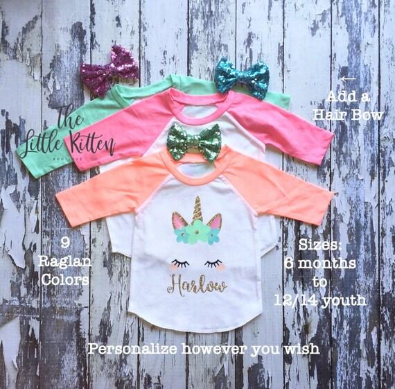 Unicorn, Unicorn Shirt, Unicorn t-shirt, unicorn birthday, Girls Birthday Shirt, Cat Shirt, Bunny Shirt, Easter Shirt, Personalized Raglan