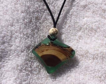 Handmade Necklace, one of  kind made with resin and Colorado forest wood.