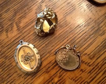 Antique Fobs/ Lockets (3) Two with Photos, One with Lock of Hair