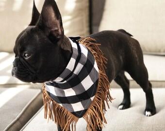Plaid + Fringe Dog Bandanna