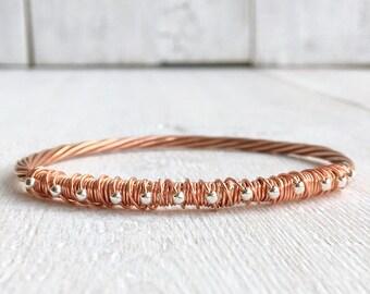 Copper Bangle • Bangle Bracelet • Handmade Copper Bangle Bracelet • Stacking Bangle • Wire Wrapped Copper Bangle  • Mixed Metals Bangle