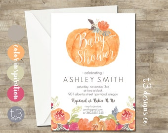 Little Pumpkin Baby Shower Invitation, girl or boy baby shower invite, baby shower, fall baby shower, watercolor baby, neutral shower invite