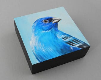 Blue Indigo Bunting painting - spring blue bird art block - blue bird of happiness - spring bird painting - wildlife art - birdwatching