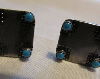 Vintage Sterling Silver and Turquoise Cuff Links
