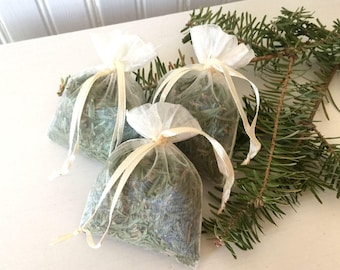 Three Fresh Balsam Fir Sachets Organza Bags Aroma Therapy Set of 3