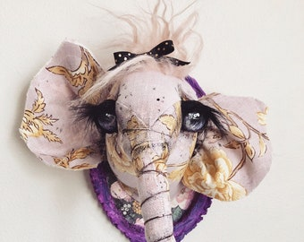 Lil swanky Pink Reed Elephant | faux taxidermy | nursery | pink | baby | baby shower | wall art | stuffed animal | mounted head |