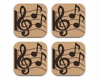 MUSIC NOTES  Treble Clef Cork Coaster Set Hostess Gift Idea Musician Decor