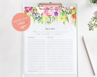 Printable Floral Recipe Card Page, Bridal Shower Recipe Page, Recipe Binder, Digital Download PDF, MAM121_03