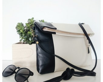 Leather crossbody/clutch - black and beige