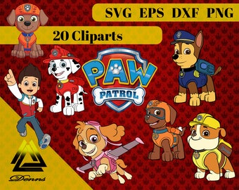 Paw Patrol Clipart – 20 (Svg, Eps, Png, Dxf Files) 300 PPI, Vectorial Images, Paw Patrol svg, T-Shirt Design, Paw Patrol Printable
