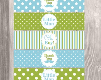 Little Man Water Bottle Labels, Printable Blue and Green Baby Shower Boy Water Bottle Labels, Instant Download Baby Shower Favors