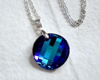 Bermuda Blue Swarovski Twist earrings, Swarovski Crystal twist Pendant, Bermuda Blue twist pendant, Swarovski blue crystal pendant