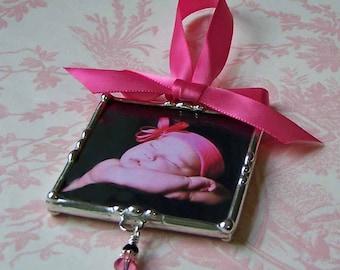 Ornement de Photo personnalisé, sur mesure fabriqué en verre soudé, fête des mères ou cadeau fête des pères, 1er Noël de bébé, ornement de cadre photo