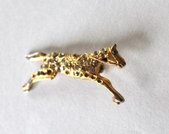Vintage 1950s/1960s Gold Rhinestone Horse Pin/Brooch