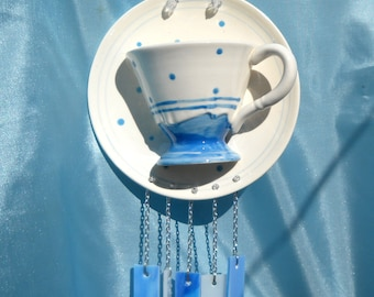 Department 56 Winter Snowflake Recycled Collectable Tea Cup and Saucer with Glass Windchimes