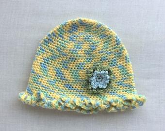 Crocheted Ruffled Baby Cap