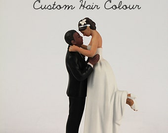 Custom Wedding Cake Toppers - Interlocking Romantic Bride and Groom - Dark Skin Tone Groom and Medium Skin Tone Bride - Personalized